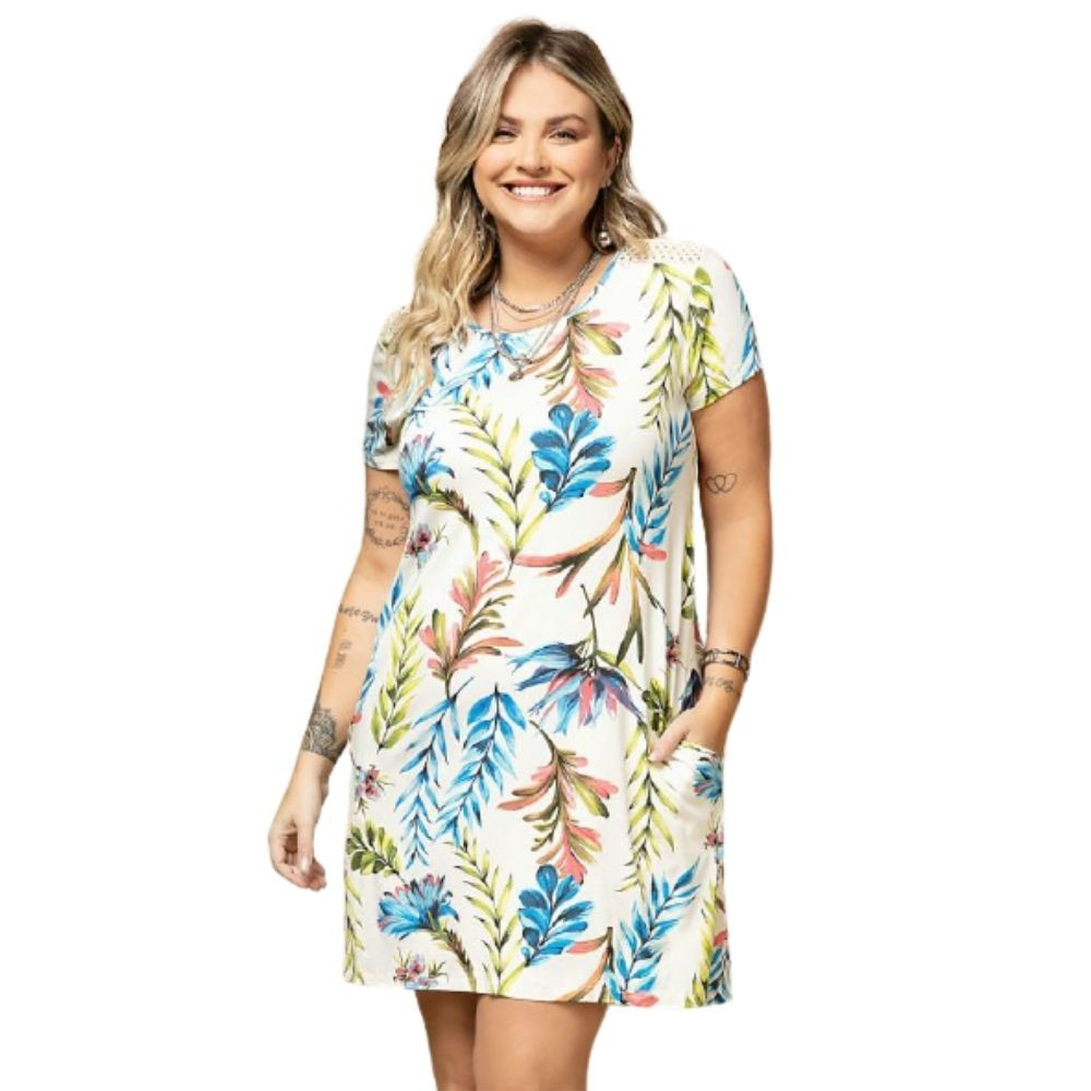 Vestido Feminino Folhagens Plus Size Curto