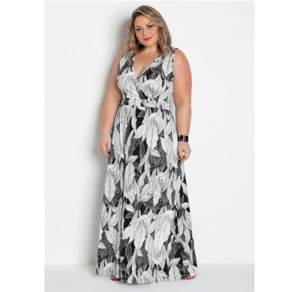Vestido Feminino Longo Plus Size Transpassado Folhagem