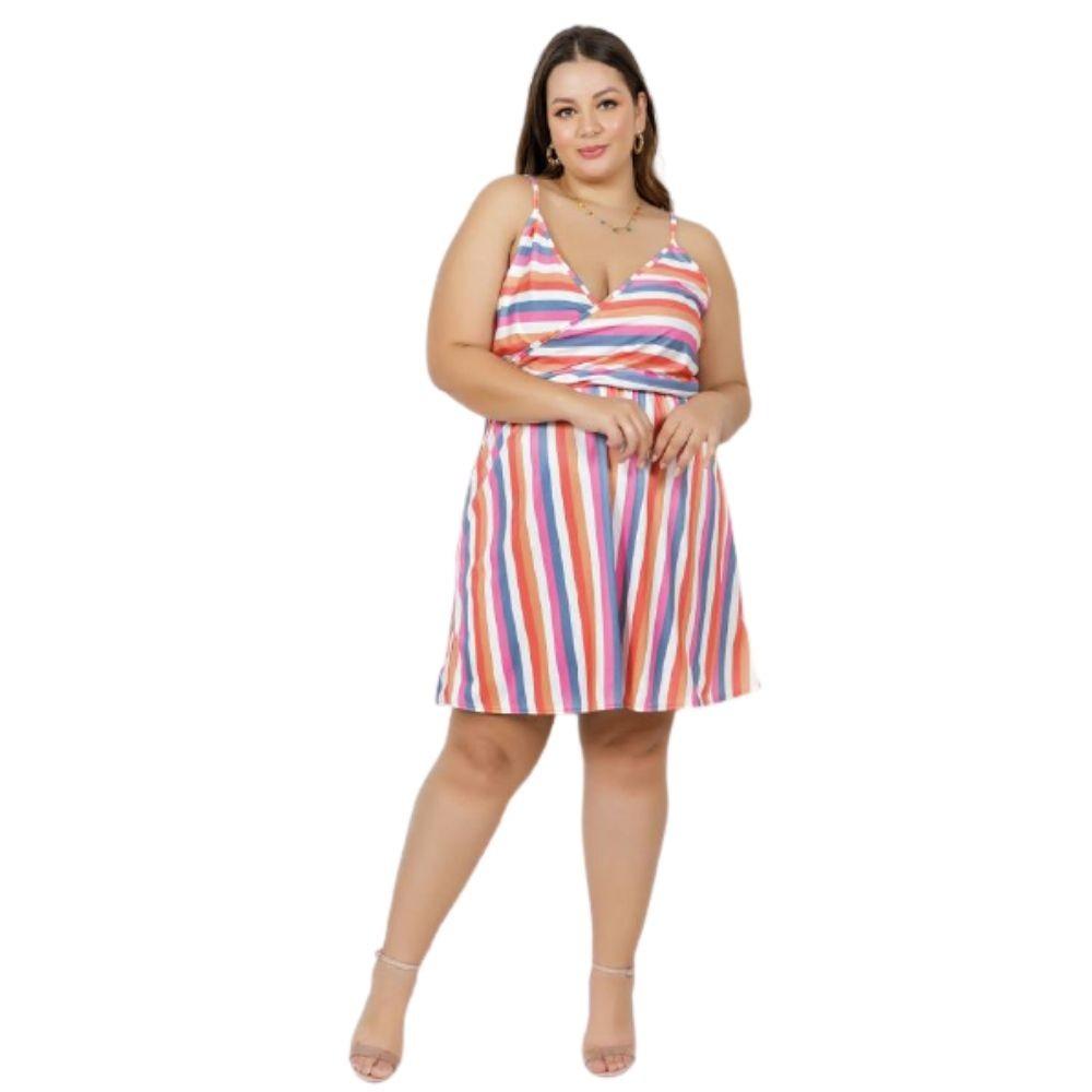Vestido Feminino Curto Plus Size Com Alças
