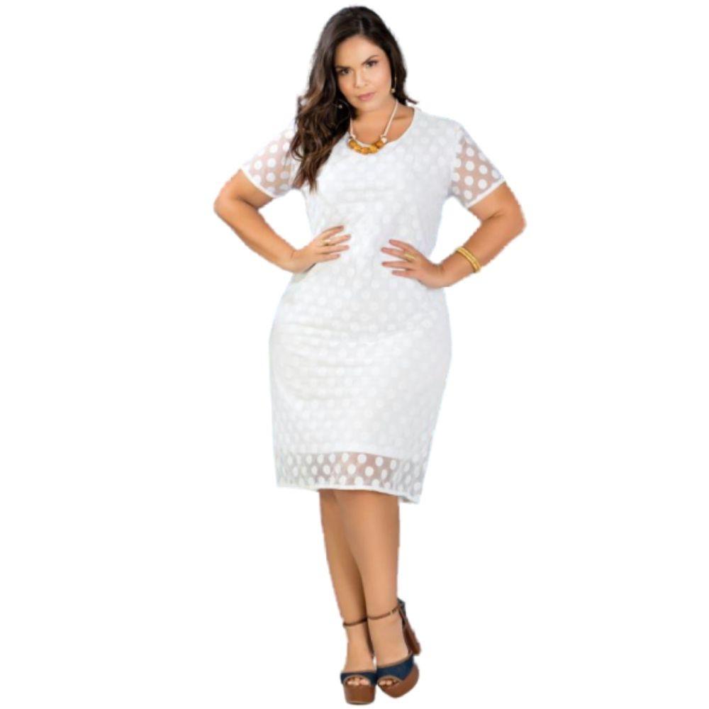 Vestido Feminino Plus Size com Transparência Branco