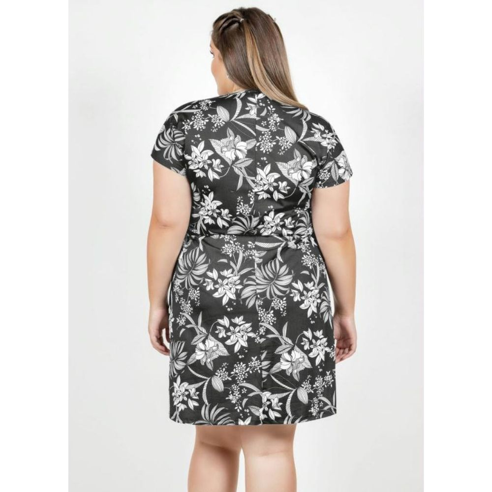 Vestido Floral com Transpasse Feminino Plus Size