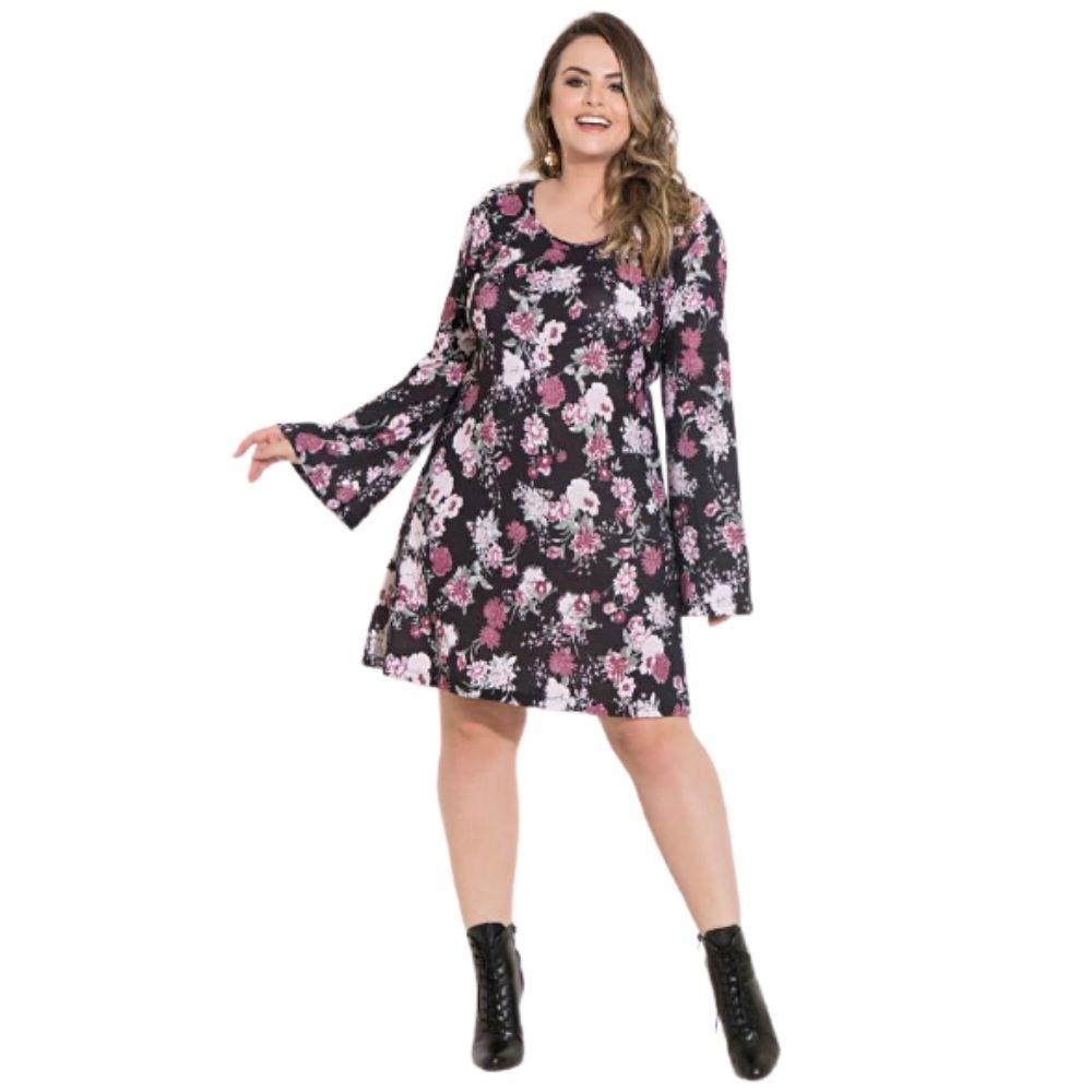 Vestido Floral Feminino Preto Mangas Sino Plus Size