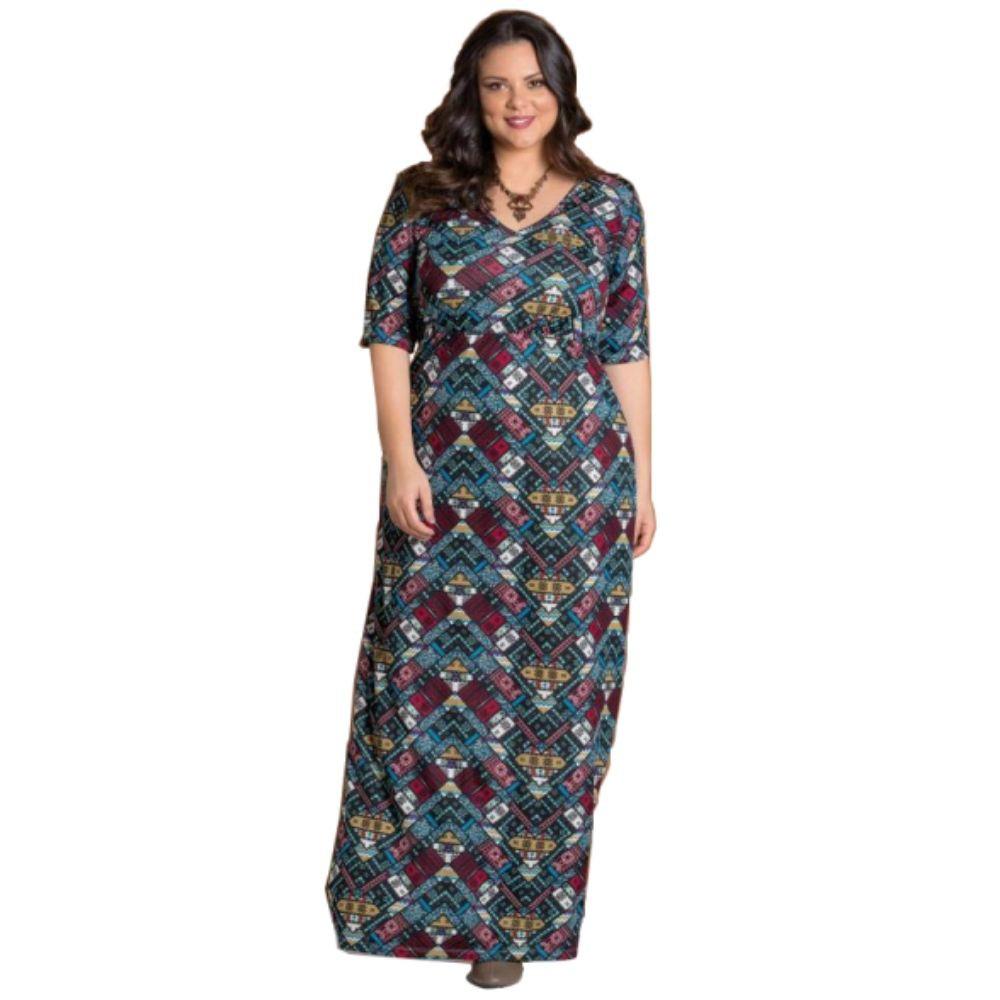 Vestido Longo Plus Size Étnico Decote V