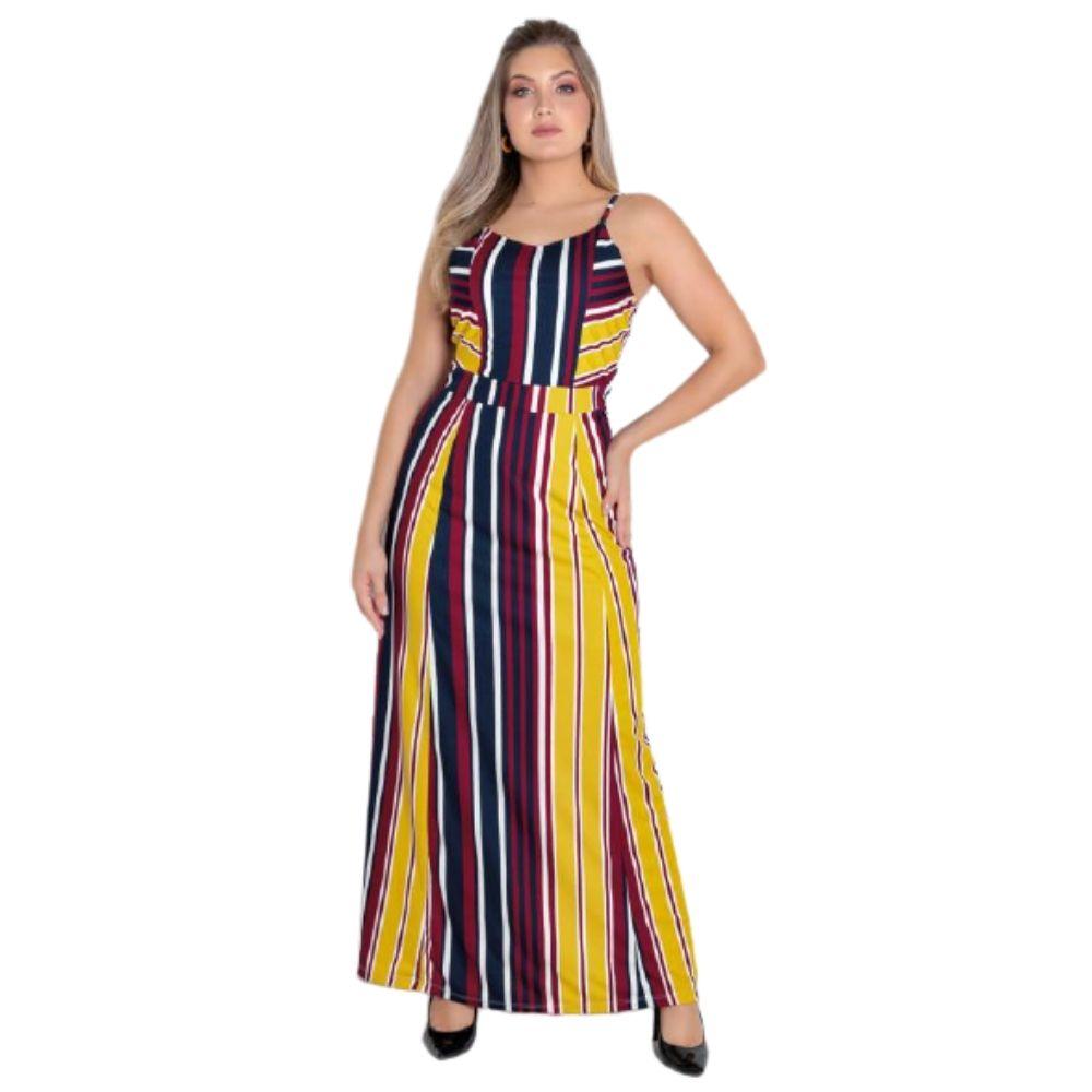 Vestido Longo Plus Size Feminino Listrado