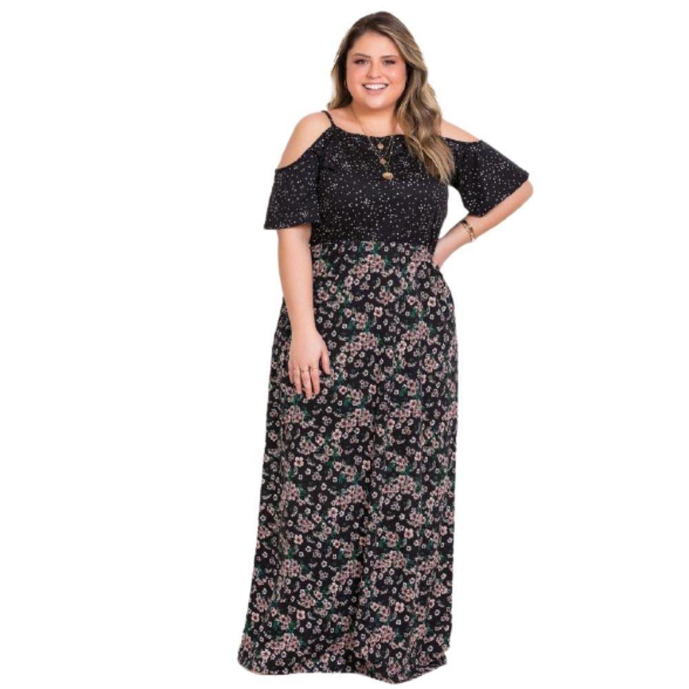 Vestido Longo Poá e Floral Plus Size