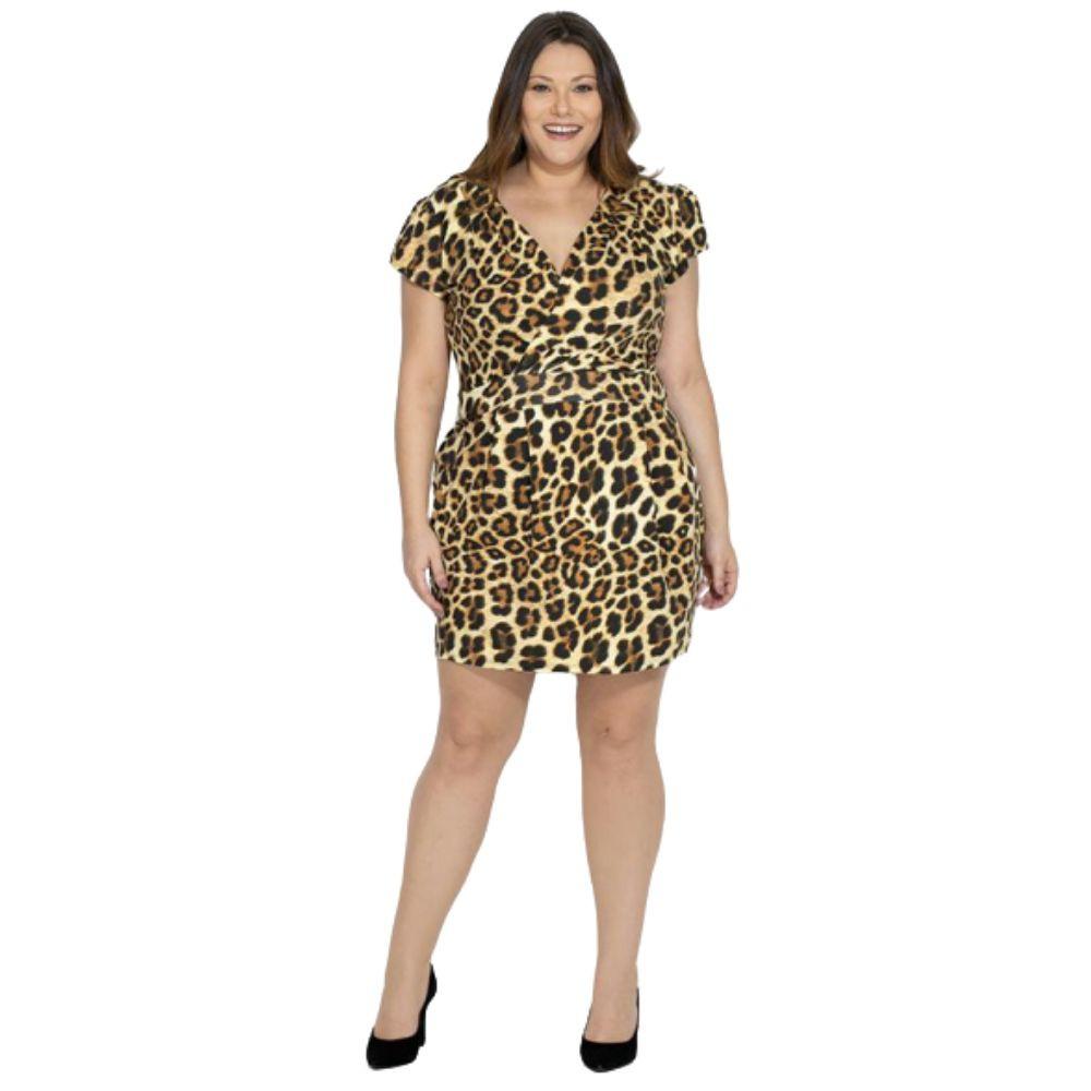 Vestido Onça Com Decote Transpassado Plus Size