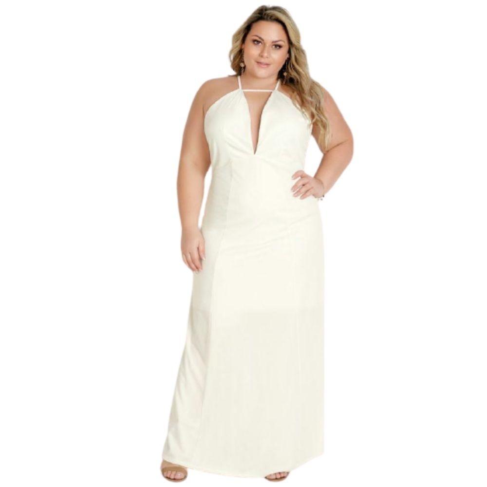 Vestido Plus Size Longo Off White Frente Única