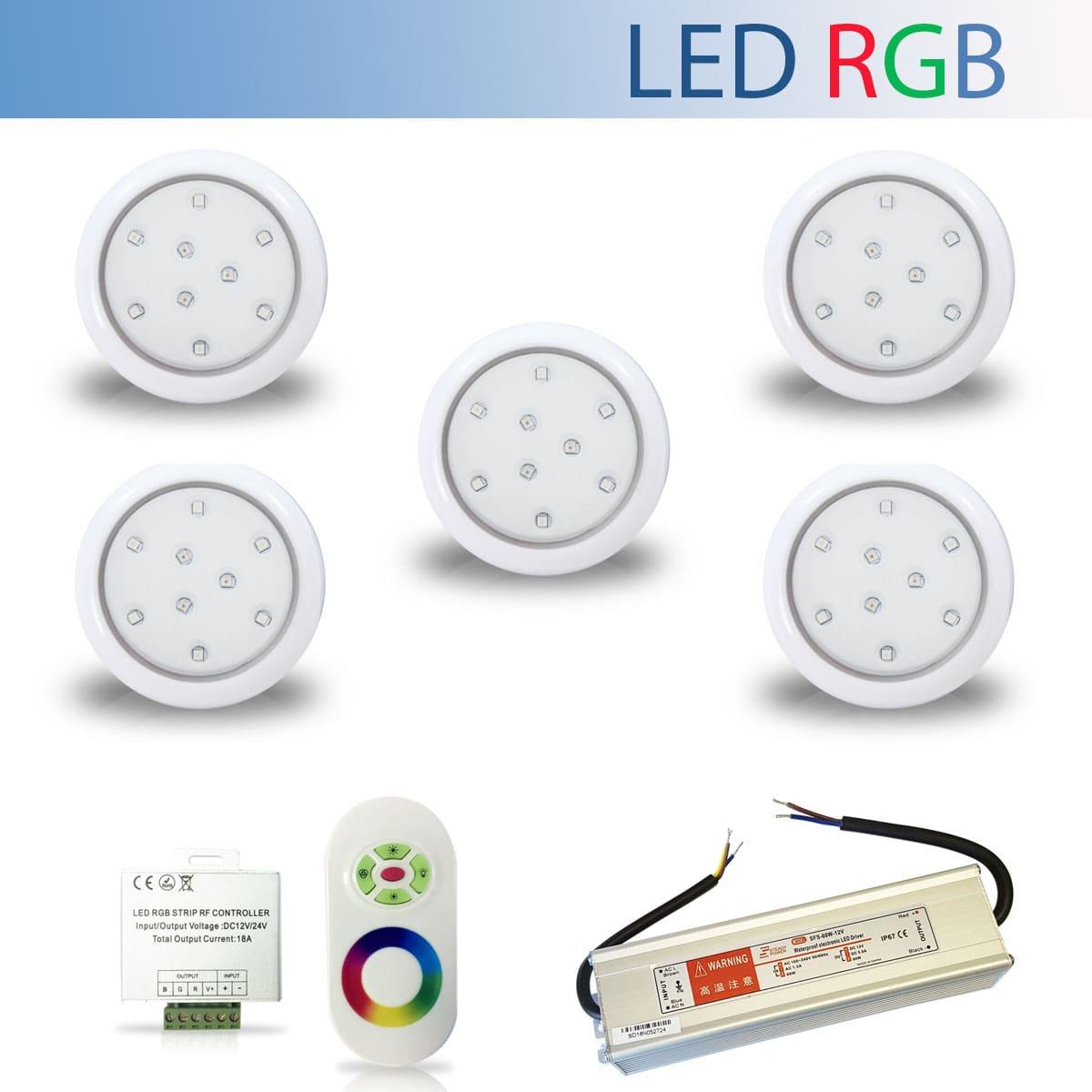 Kit 5 Luminária Led RGB para Piscina de 9W 80mm + Fonte Blindada IP67 de 60W + Controle RGB