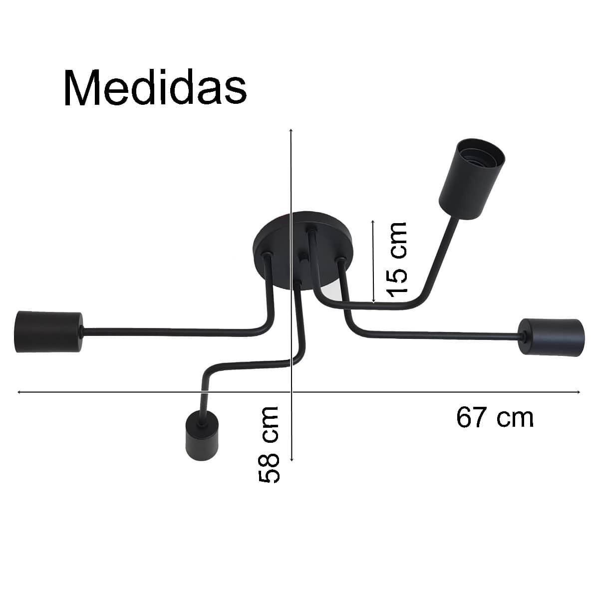 Plafon Decorativo Aranha Eletro 4 Braços E27