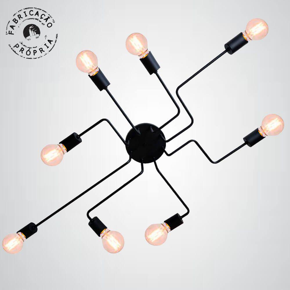 Plafon Decorativo Aranha Eletro 8 Braços E27