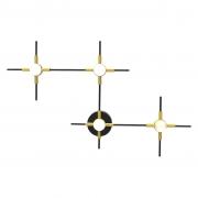 Arandela/Plafon Link Preto Dourado e Branco 39x60x5cm 4xLed 14W 3000k Bivolt Bella Iluminação FT002