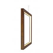 Pendente Quadrado Vazado Vertical Em Madeira 60x60x4cm 1xLed 18w 2700k Bivolt Union Iluminação 291