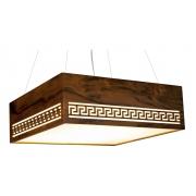 Pendente Gregas Horizontal Em Madeira 15x45x45cm 3xE27 Bivolt Union Iluminação 034