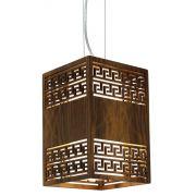 Pendente Gregas Lux Em Madeira 30x20x20cm 1xE27 Bivolt Union Iluminação 084