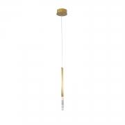 Pendente Pétra Dourado e Transparente Ø12x44cm 1xLed 3W Bivolt Bella Iluminação OC001S
