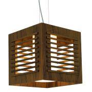 Pendente Ripado Cubo Em Madeira 30x30x30cm 1xE27 Bivolt Union Iluminação 075