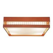 Plafon Quadrado Com Cristais Em Madeira 35x35x15cm 2xE27 Bivolt Union Iluminação 262
