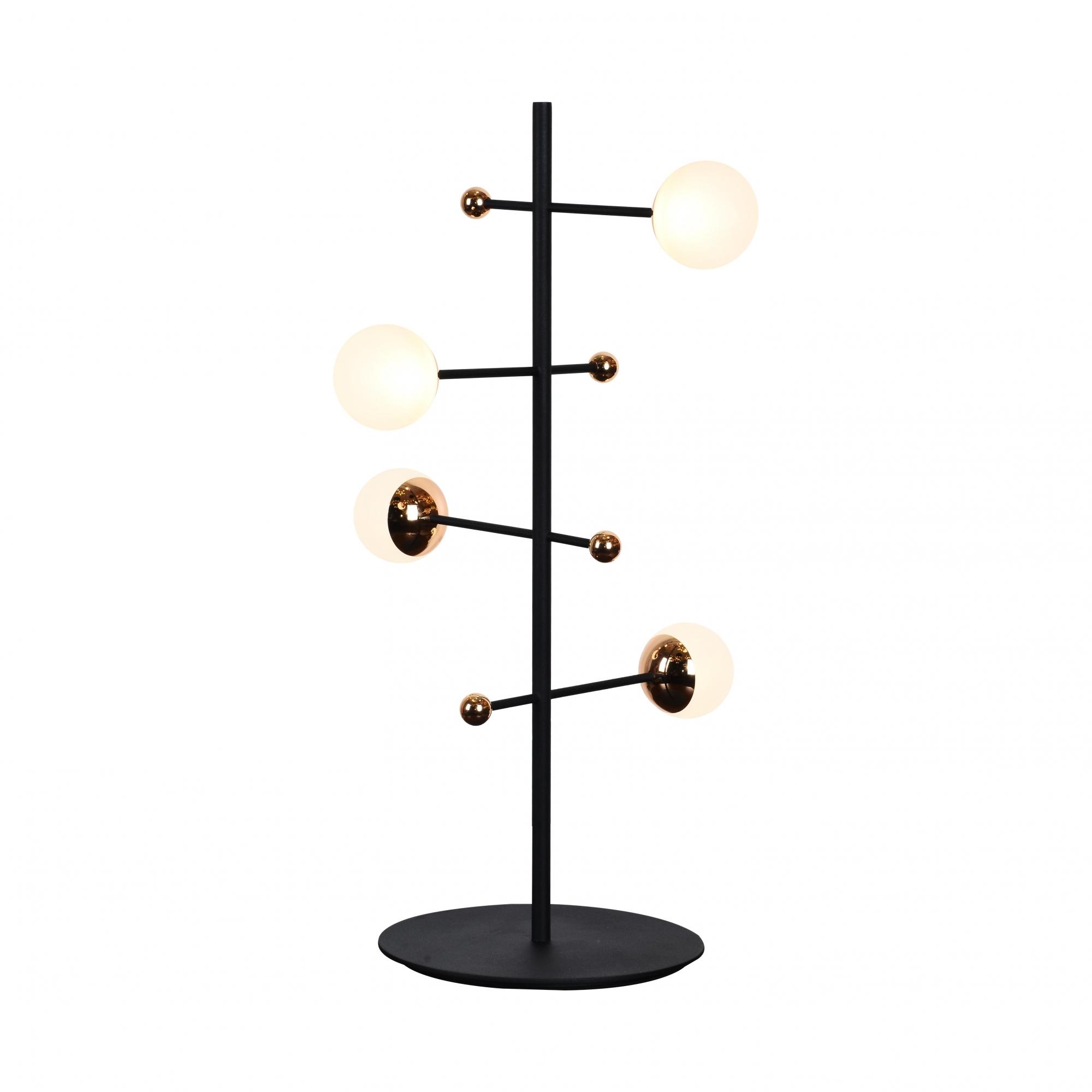 Abajur Fuxico Preto e Dourado 28x52cm 4xLed 12W Bivolt Bella Iluminação JU004
