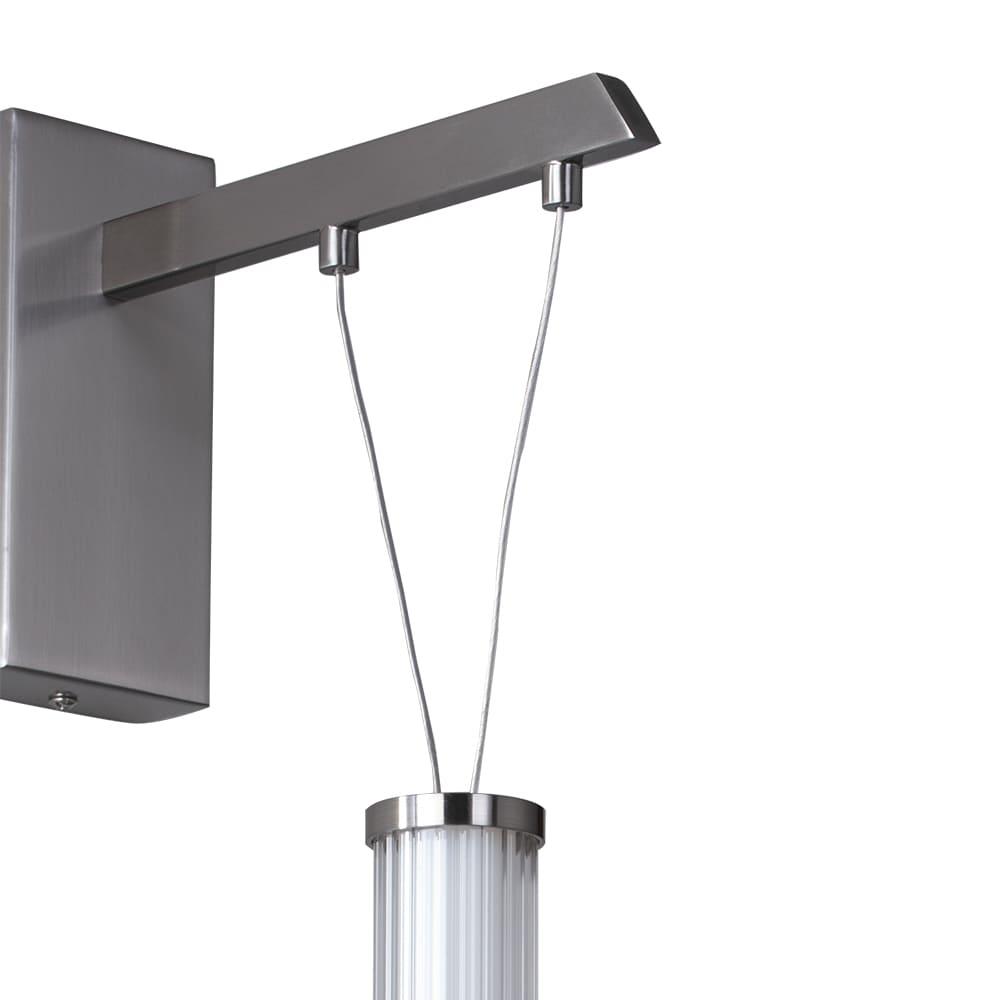 Arandela Água Nickel Branco e Transparente 7x23x54cm 1xLed 7W Bivolt Bella Iluminação RE016