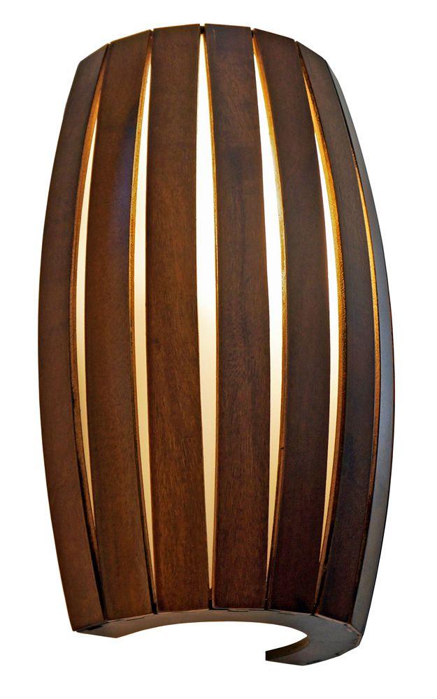 Arandela Barril Pequeno Em Madeira 30x20,5x12cm 2xE27 Bivolt Union Iluminação 166