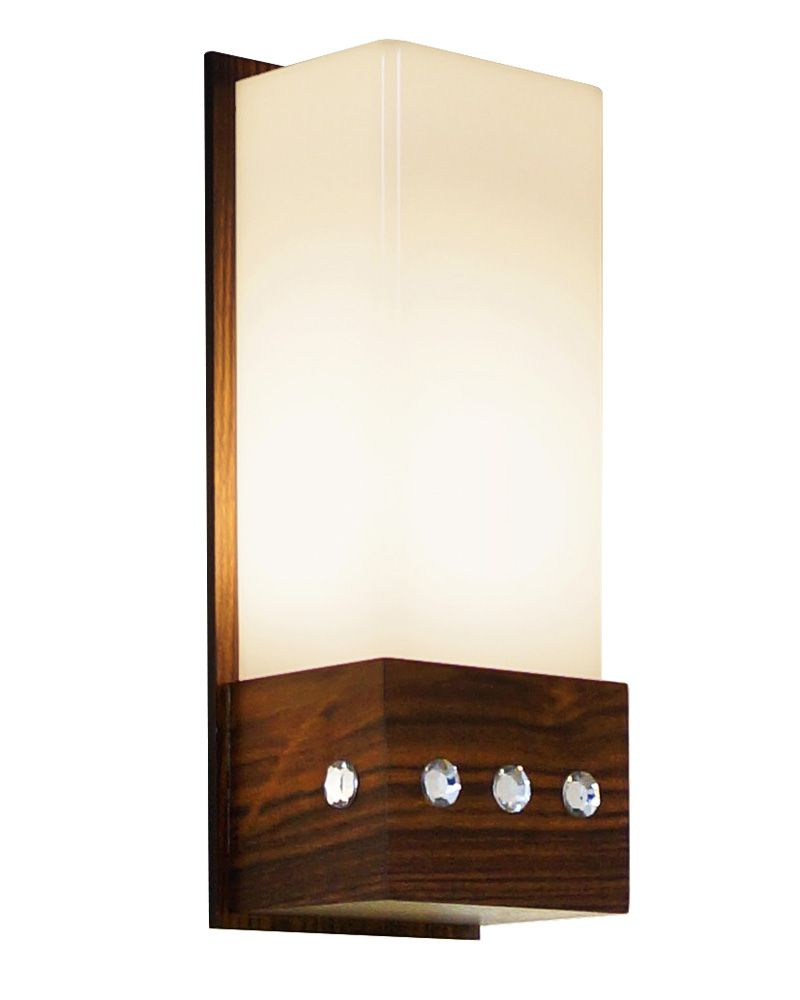 Arandela Cristal Em Madeira 30x12x9,5cm 1xE27 Bivolt Union Iluminação 016