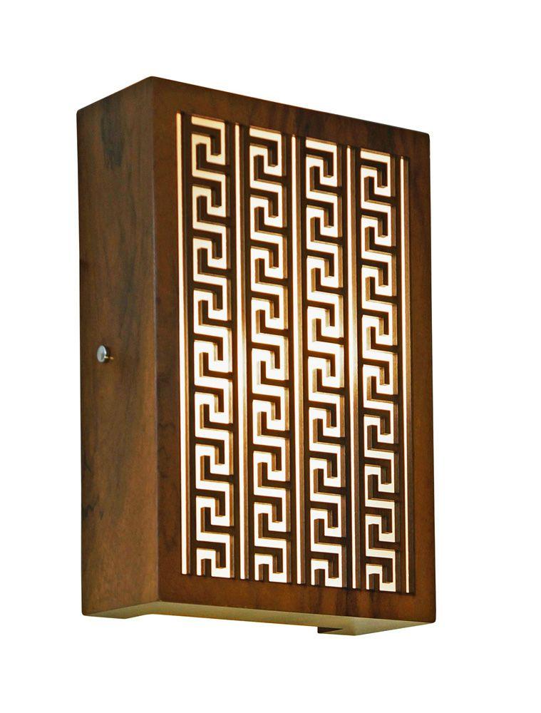 Arandela Gregas Em Madeira 30x20x8,5cm 2xE27 Bivolt Union Iluminação 040