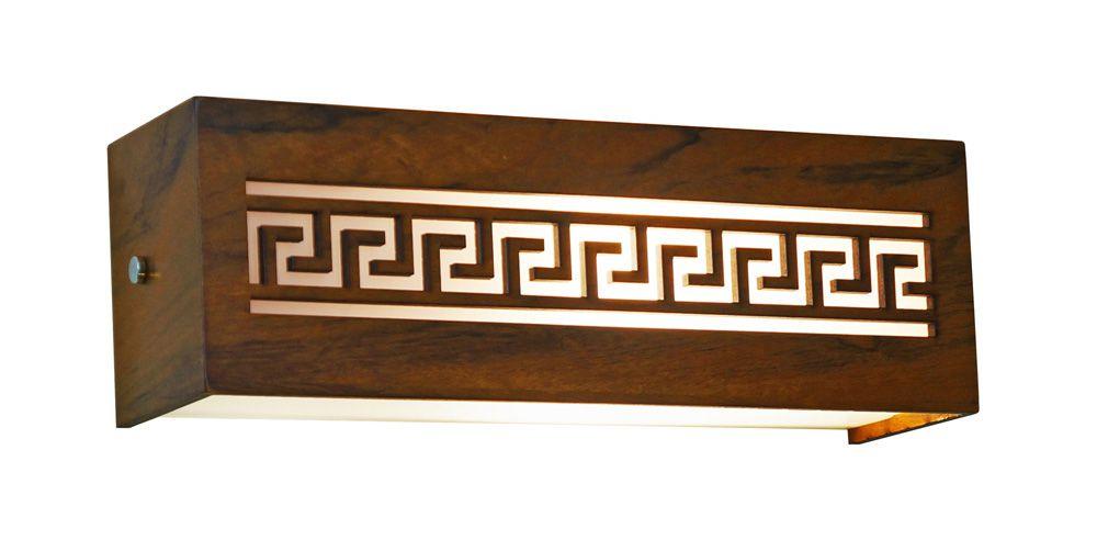 Arandela Horizontal Gregas Em Madeira 10x30x8,5cm 1xE27 Bivolt Union Iluminação 069