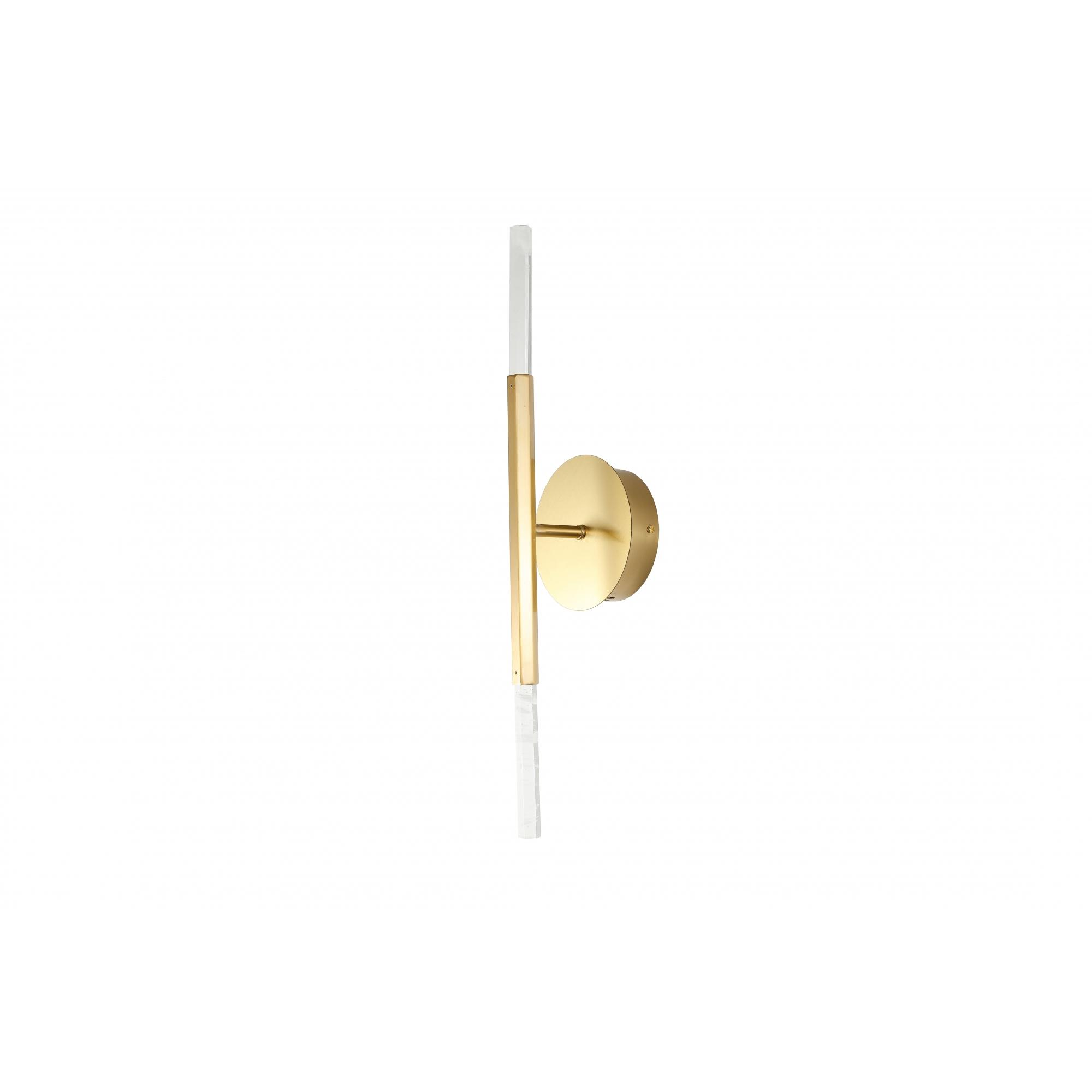Arandela Pétra Dourado e Transparente 11x12x53cm 2xLed 6W Bivolt Bella Iluminação OC004M