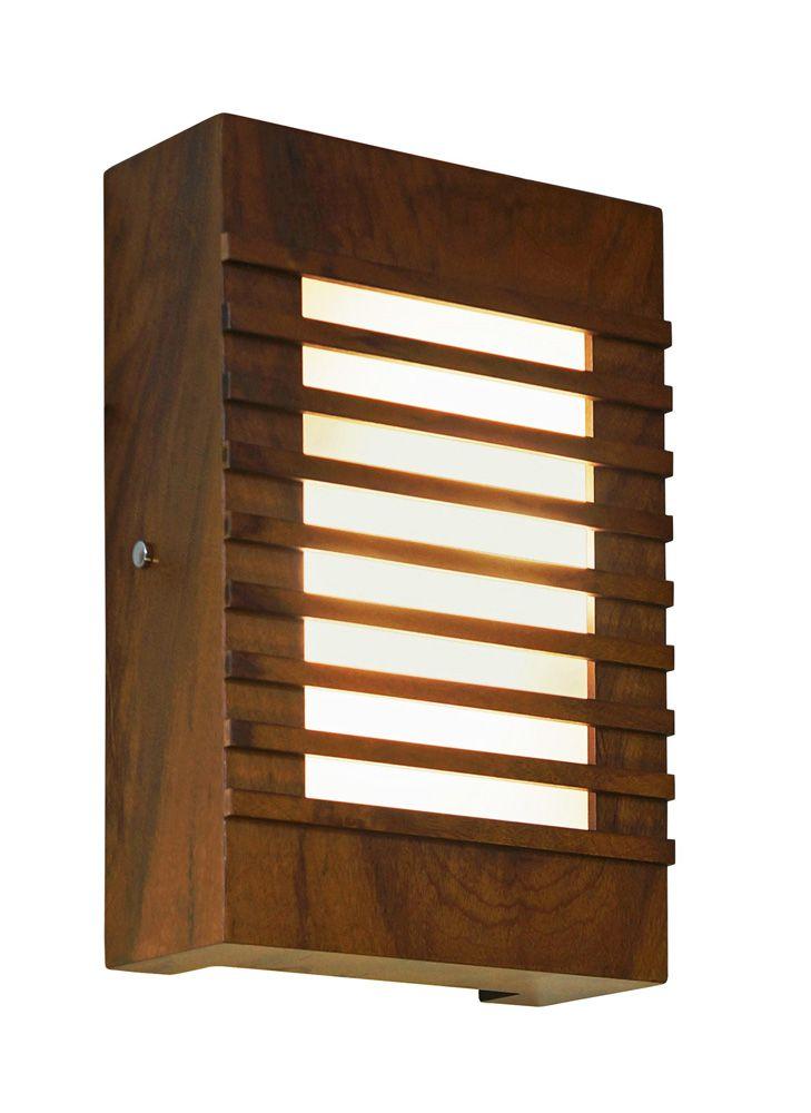 Arandela Ripada Em Madeira 30x20x8,5cm 2xE27 Bivolt Union Iluminação 005