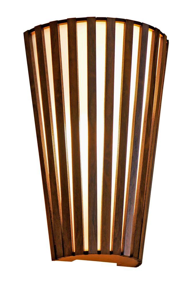 Arandela Ripada Encurvada Em Madeira 30x20x10cm 2xE27 Bivolt Union Iluminação 124