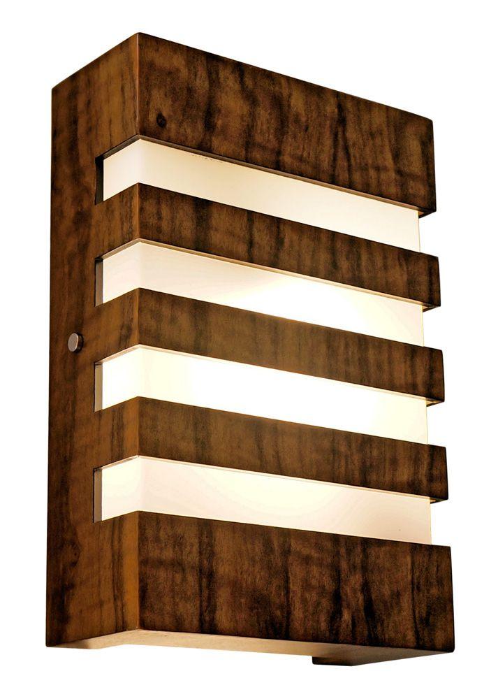 Arandela Riscos Em Madeira 30x20x8,5cm 2xE27 Bivolt Union Iluminação 193
