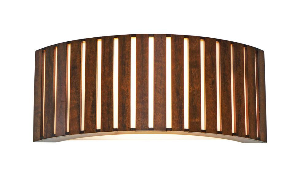 Arandela Semi Cilíndrico Ripada Em Madeira 16x40x10cm 2xE27 Bivolt Union Iluminação 061