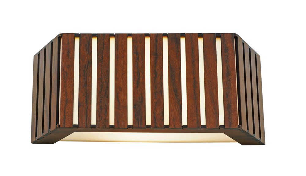 Arandela Semi Hexágono Ripada Em Madeira 16x40x10cm 2xE27 Bivolt Union Iluminação 062