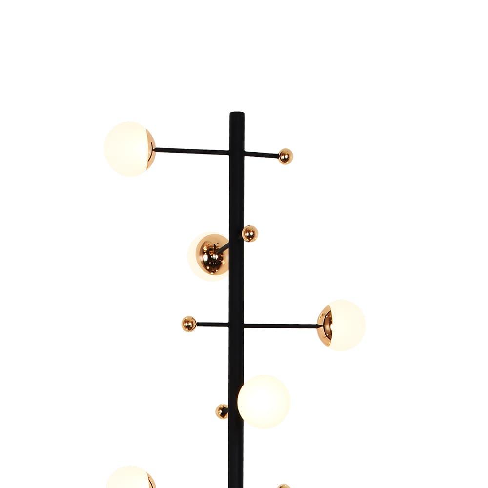 Coluna Fuxico Preto e Dourado 30x160cm 8xLed 24W Bivolt Bella Iluminação JU003
