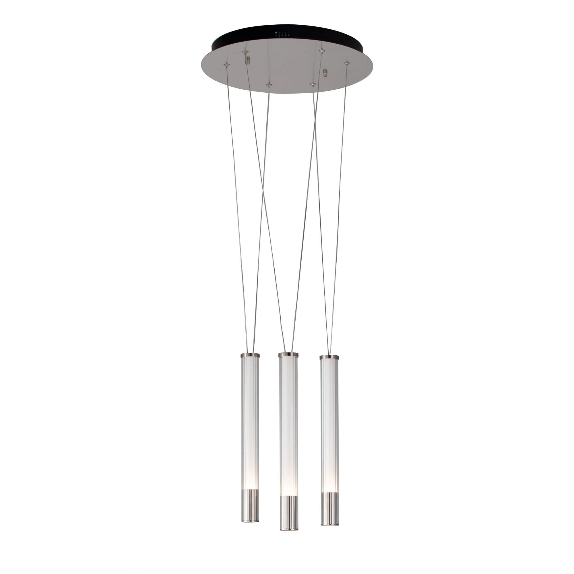 Pendente Água Nickel Branco e Transparente 40x38,5cm 3xLed 21W Bivolt Bella Iluminação RE015M