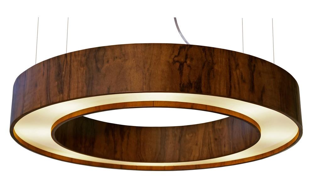 Pendente Anel Cilíndrico Em Madeira Ø60x12cm 6xG9 Bivolt Union Iluminação 141