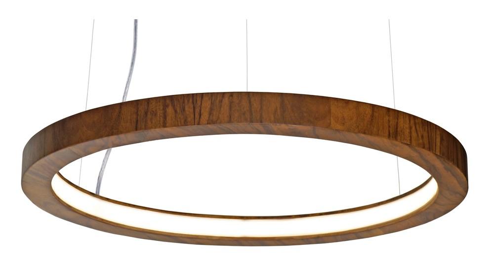 Pendente Anel Cilíndrico Horizontal Em Madeira Ø40x4cm 1xLed 12w 2700k Bivolt Union Iluminação 214