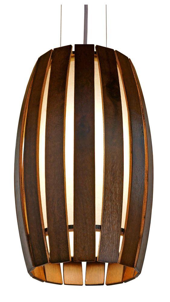 Pendente Barril Pequeno Em Madeira Ø21x33cm 1xE27 Bivolt Union Iluminação 118