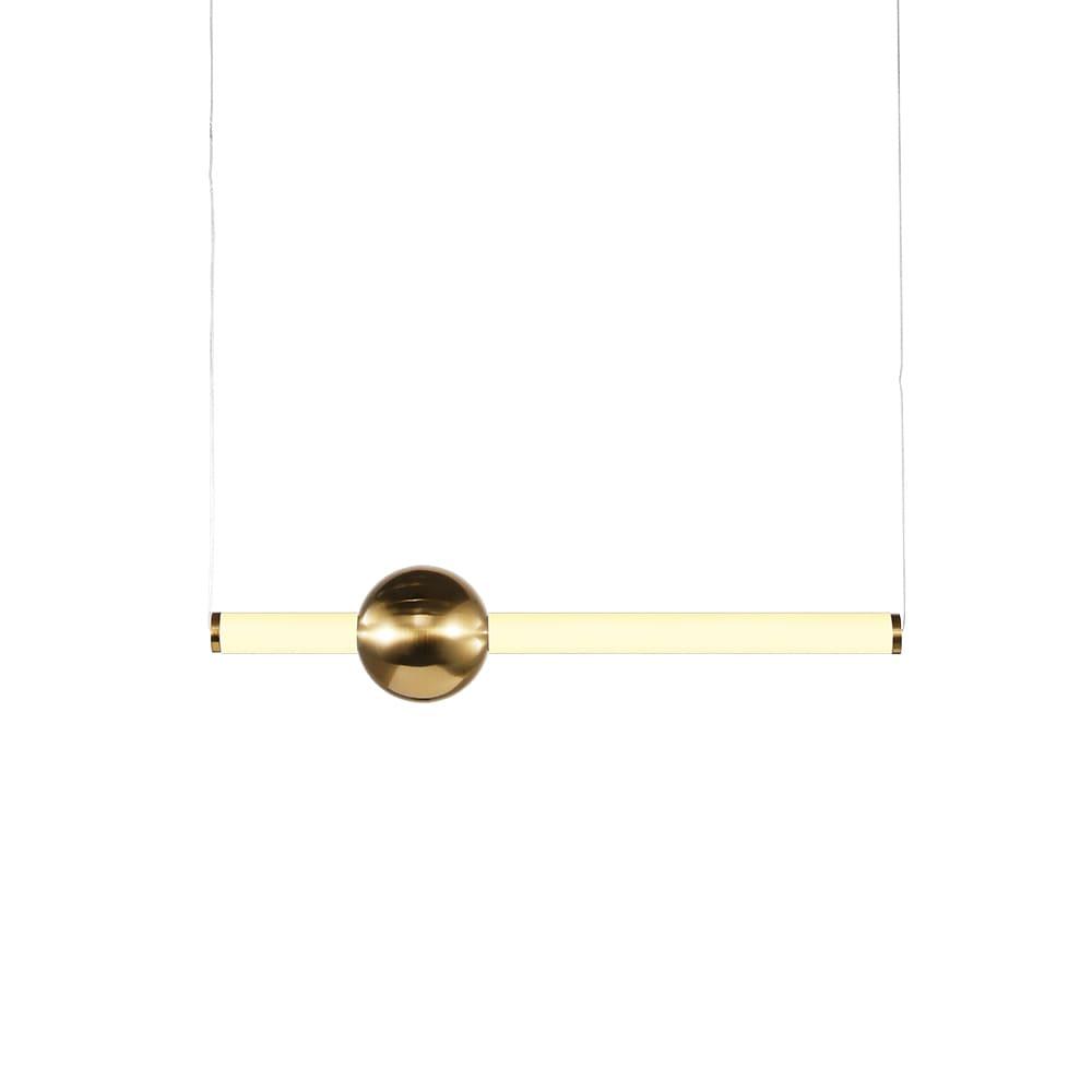 Pendente Bossa Nova Dourado e Branco 12x60cm 1xLed 10W Bivolt Bella Iluminação OC006S