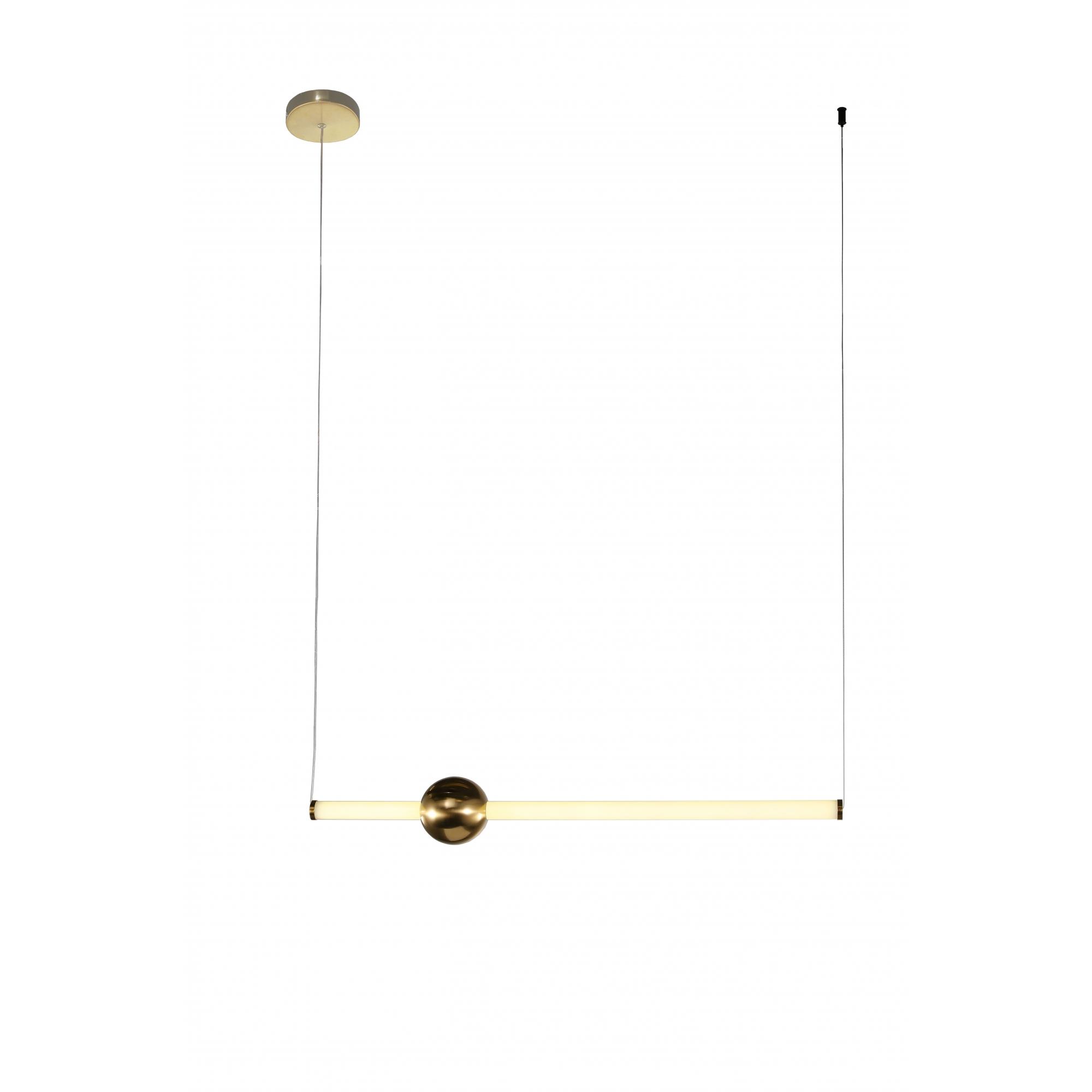 Pendente Bossa Nova Dourado e Branco 12x90cm 1xLed 20W Bivolt Bella Iluminação OC006