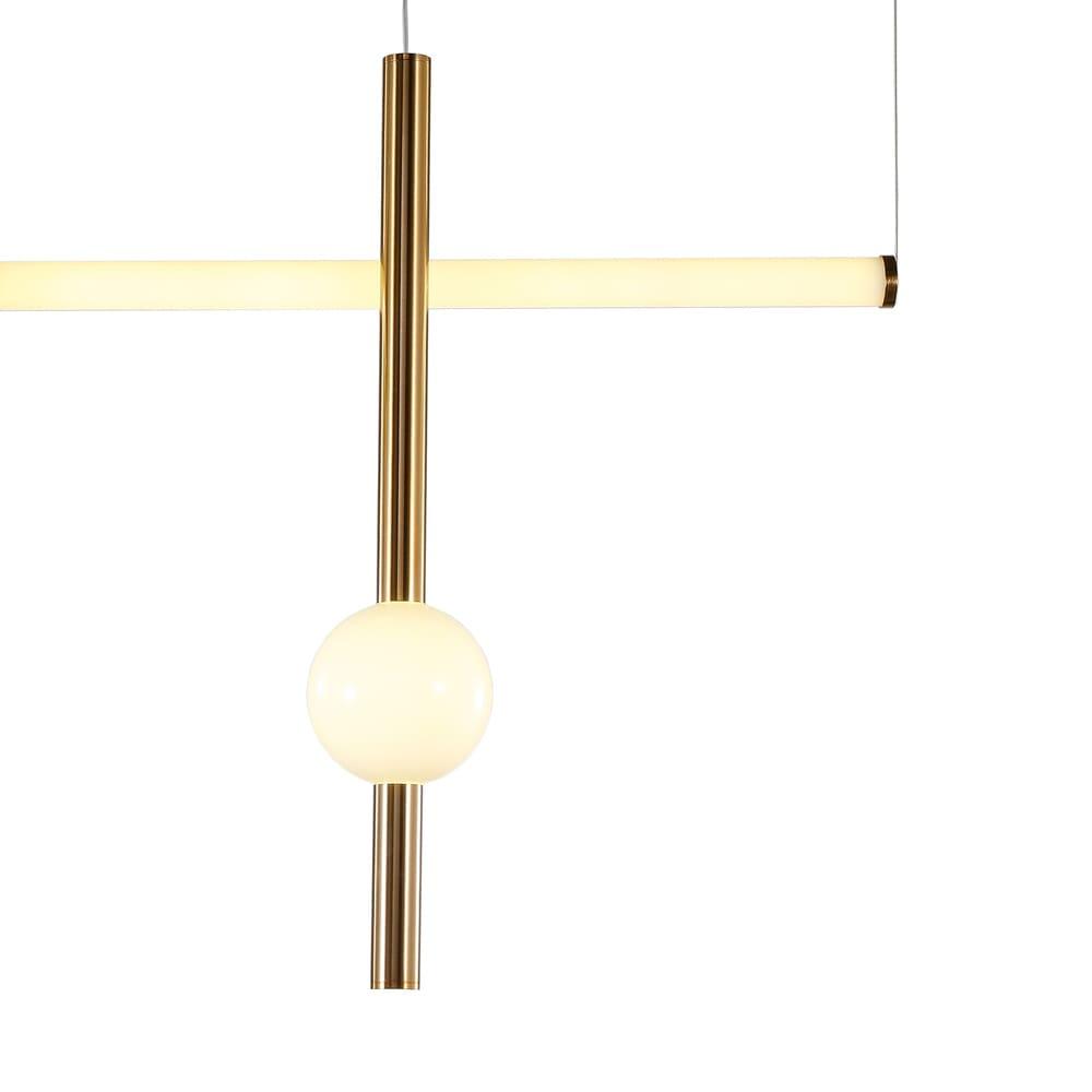 Pendente Bossa Nova Dourado e Branco 12x90x60cm 2xLed 27W Bivolt Bella Iluminação OC007