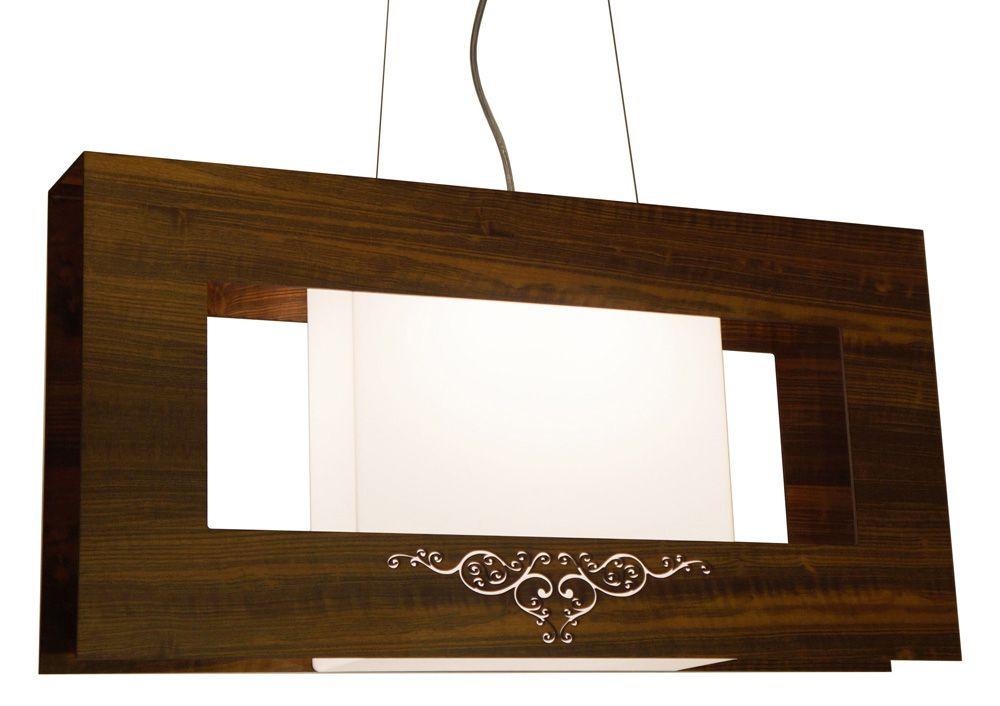 Pendente Cecilia Em Madeira 40x80x12cm 2xE27 Bivolt Union Iluminação 007