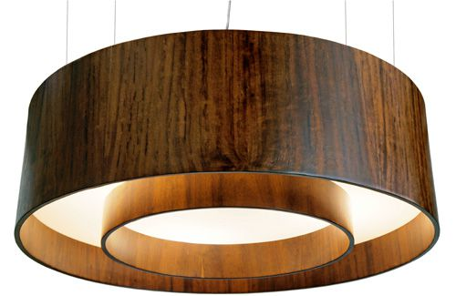 Pendente Cilíndrico Duplo Em Madeira Ø80x25cm 6xE27 Bivolt Union Iluminação 138