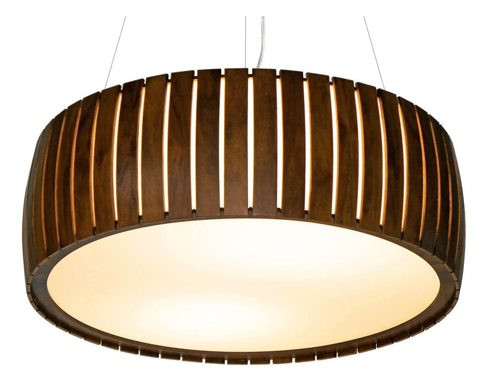 Pendente Cilíndrico Ripado Curvo Ø80x20cm 6xE27 Bivolt Union Iluminação 200