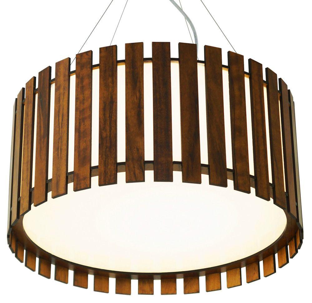 Pendente Cilíndrico Ripado Em Madeira Ø90x25cm 8xE27 Bivolt Union Iluminação 150