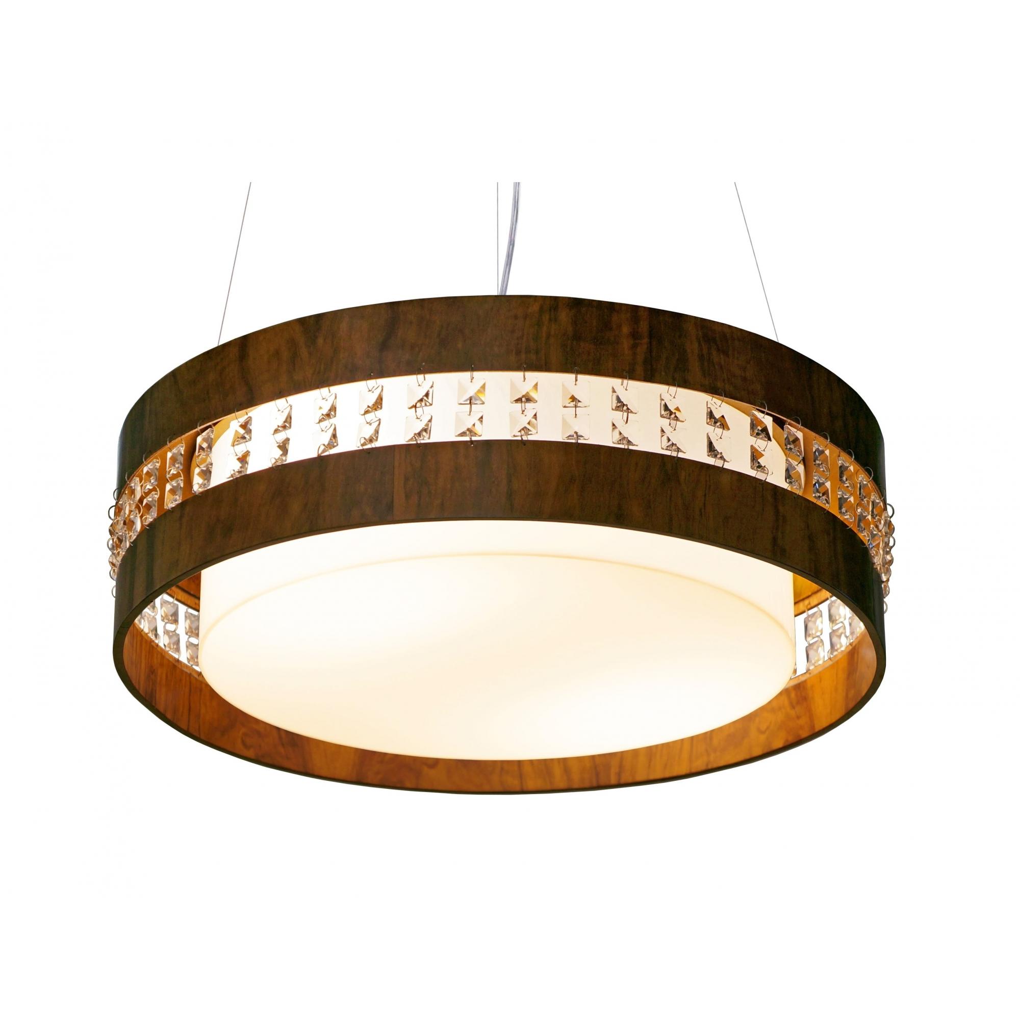Pendente Circular Horizontal Com Cristais Em Madeira  Ø60x15cm 4xE27 Bivolt Union Iluminação 239