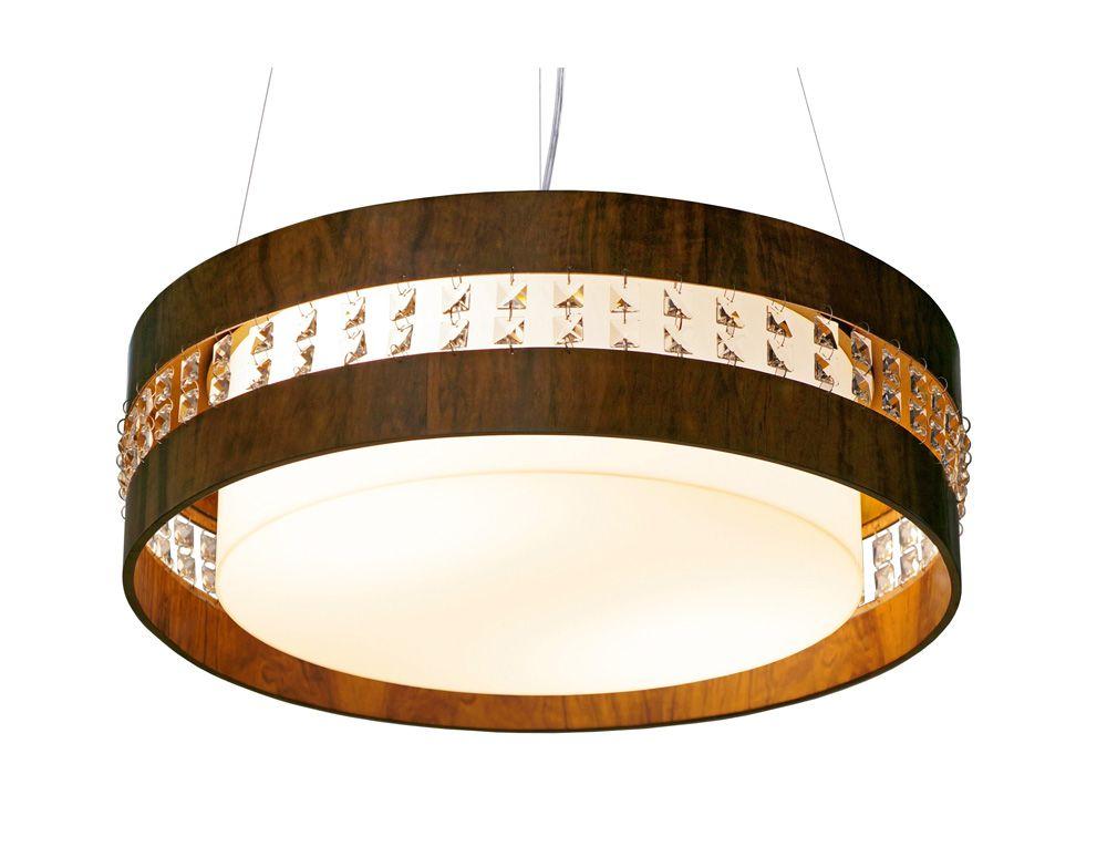 Pendente Circular Horizontal Com Cristais Em Madeira Ø50x15cm 4XE27 Bivolt Union Iluminação 238
