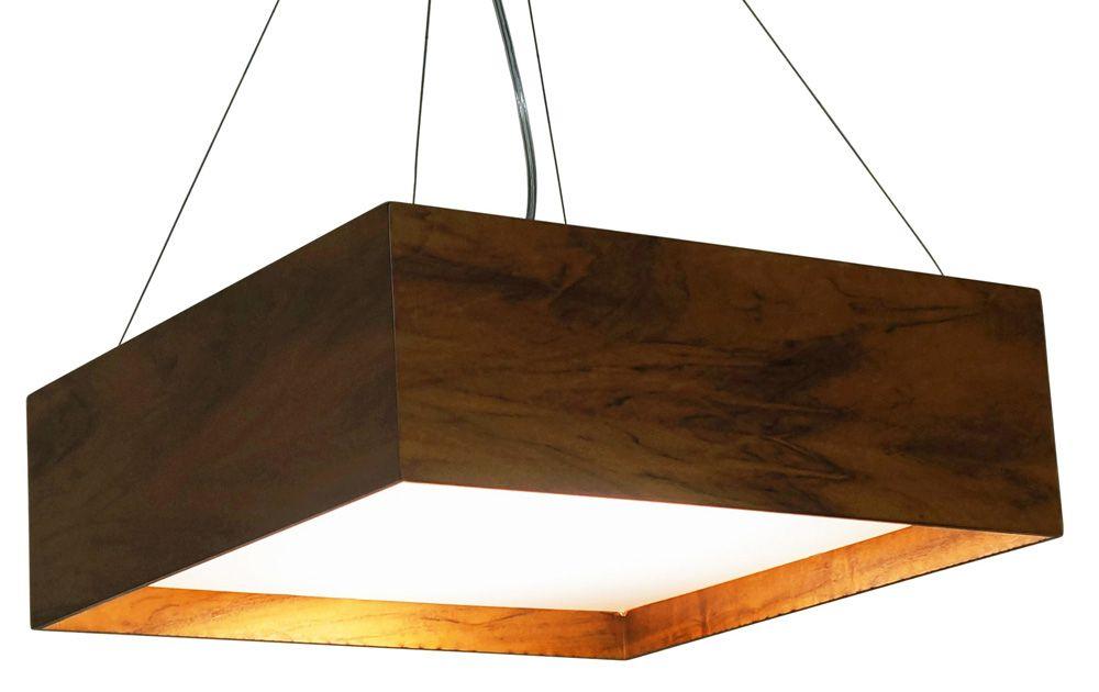 Pendente Clean Acrílico Recuado Em Madeira 15x45x45cm 3xE27 Bivolt Union Iluminação 039