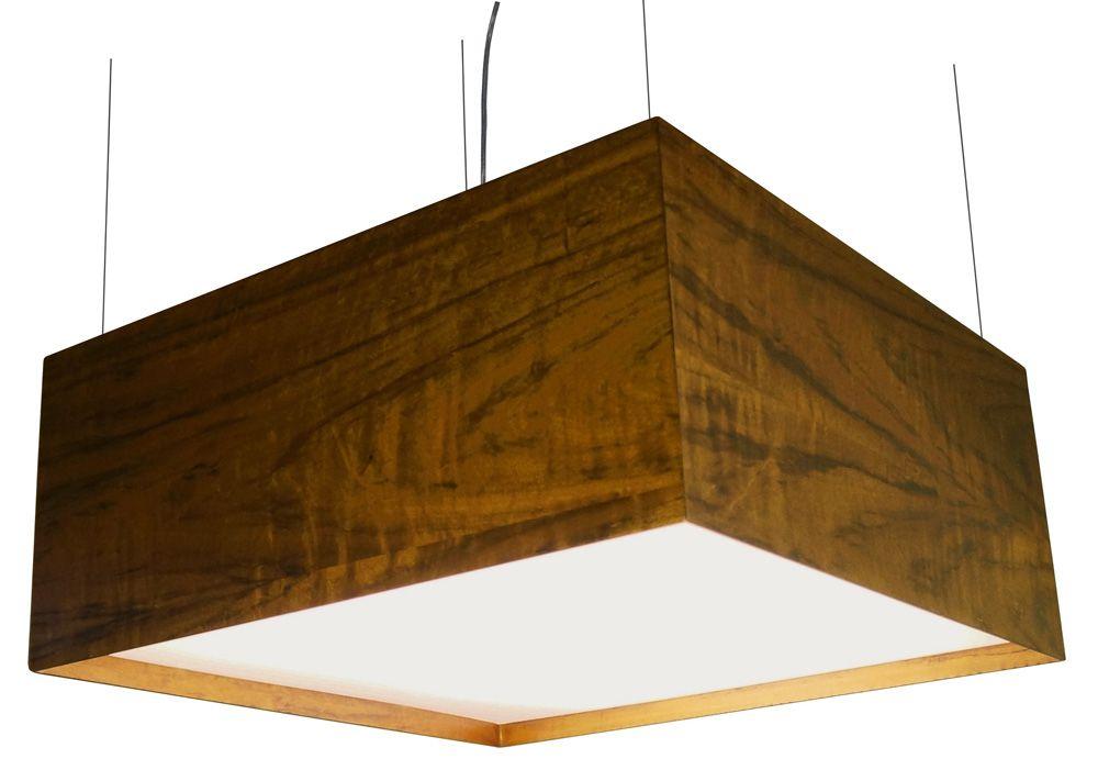Pendente Clean Acrílico Recuado Quadrado Grande Em Madeira 25x80x80cm 6xE27 Bivolt Union Iluminação 032