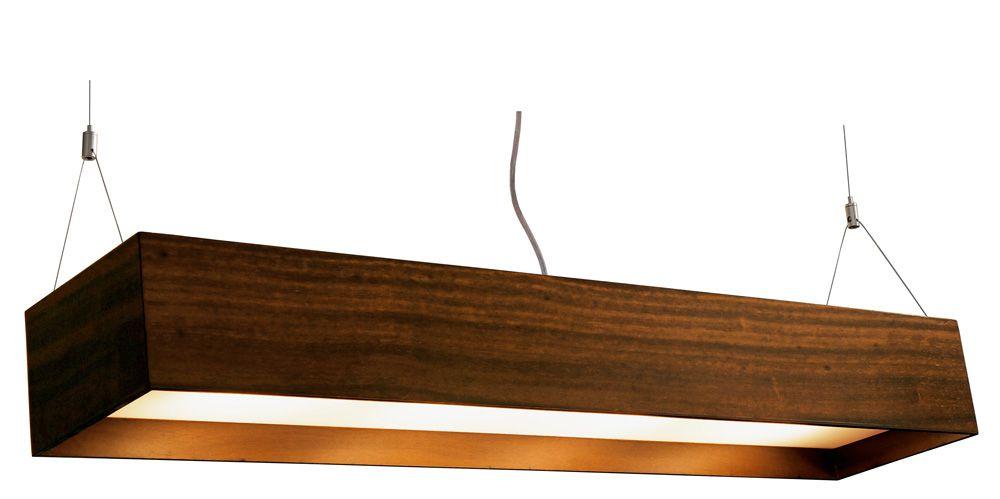 Pendente Clean Acrílico Recuado Retângular Pequeno Em Madeira 12x90x20cm 4xE27 Bivolt Union Iluminação 127